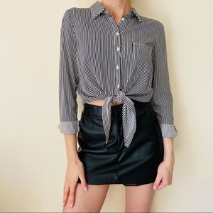 Forever 21 striped button down knot front shirt